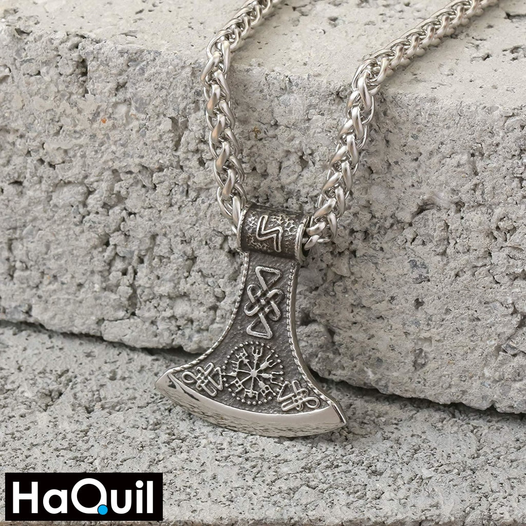 Haquil Viking Axe Nordic Runes Necklace Jewelry