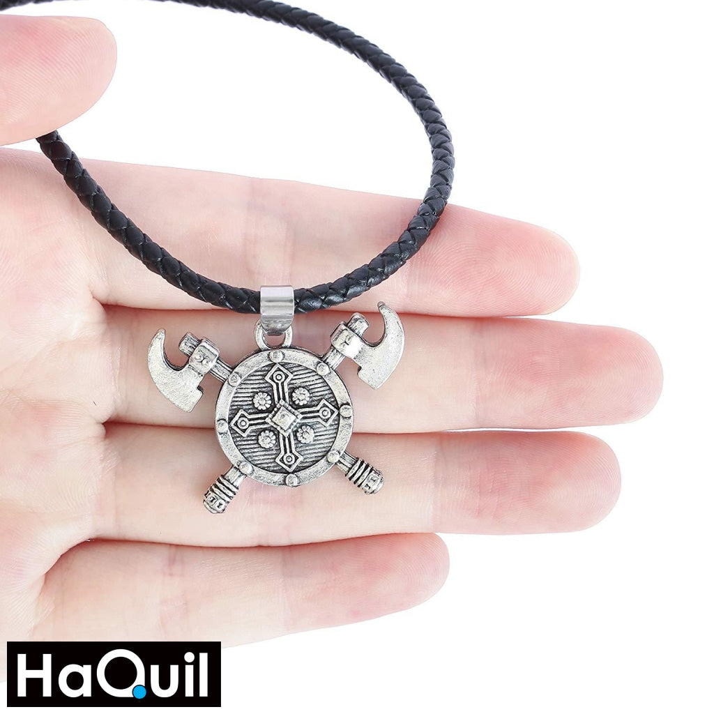 Haquil Viking Axe Shield Necklace Jewelry