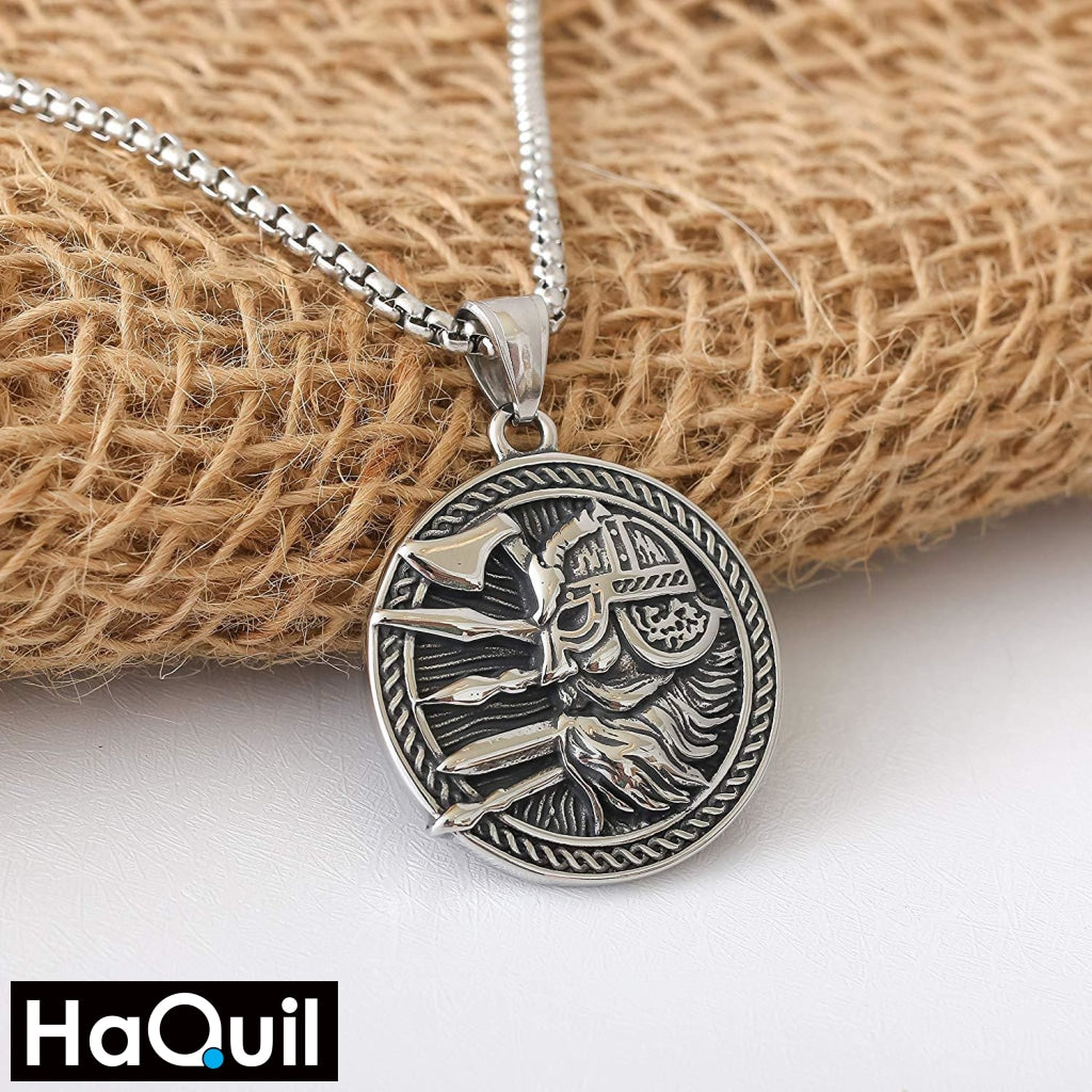 Haquil Viking Axe Shield Warrior Necklace Jewelry