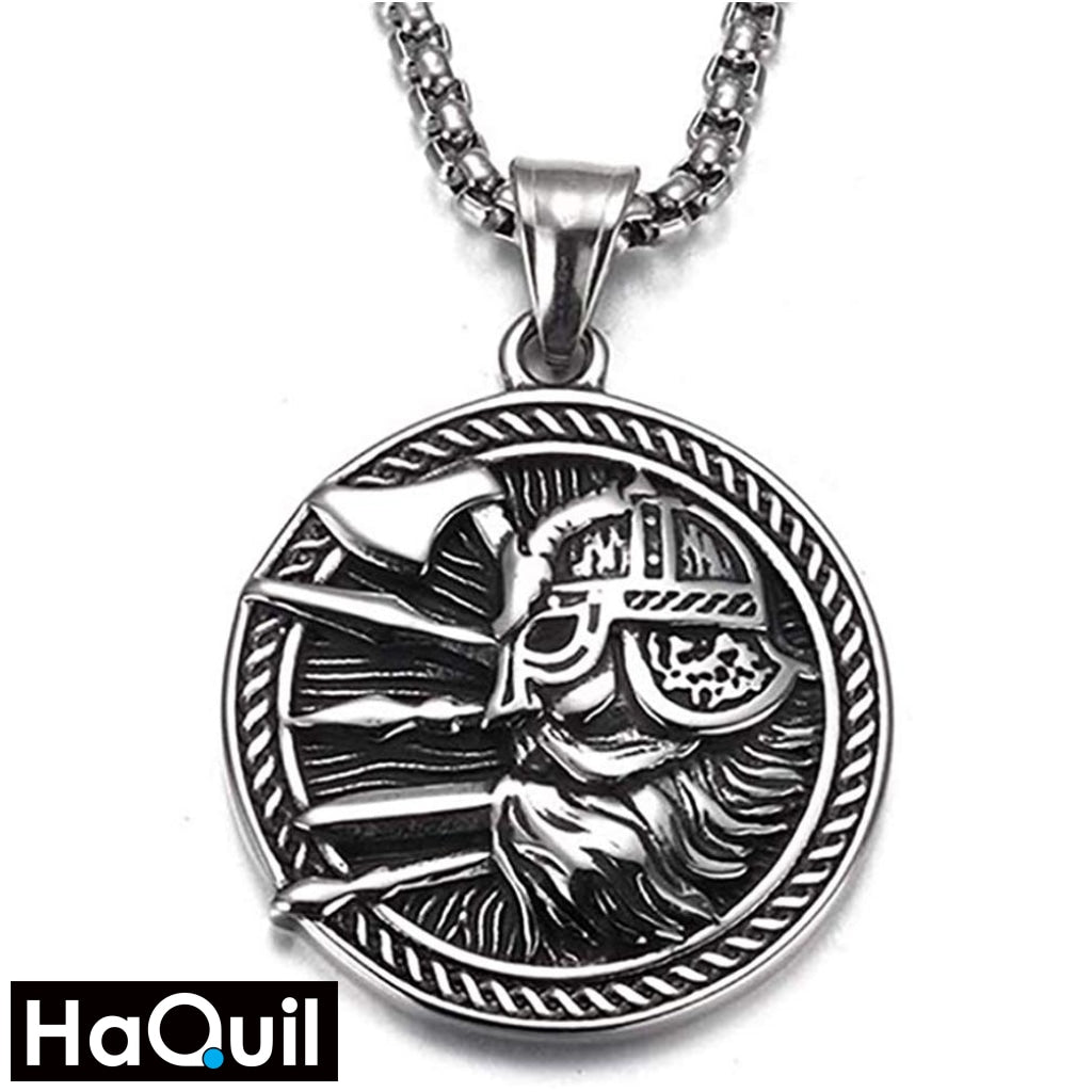 Haquil Viking Axe Shield Warrior Necklace Stainless-Steel / Womens Metal Jewelry