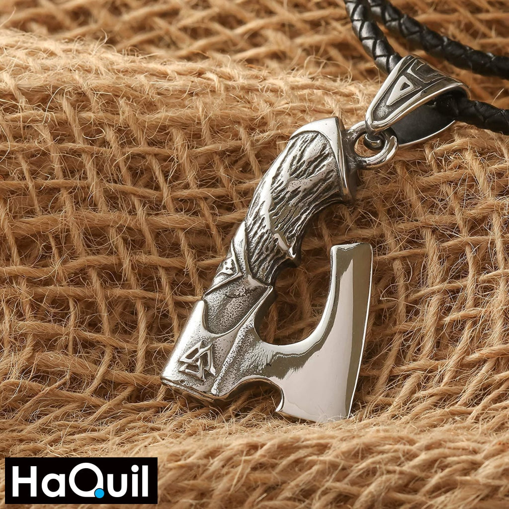 Haquil Viking Axe Valknut Knotwork Necklace Jewelry