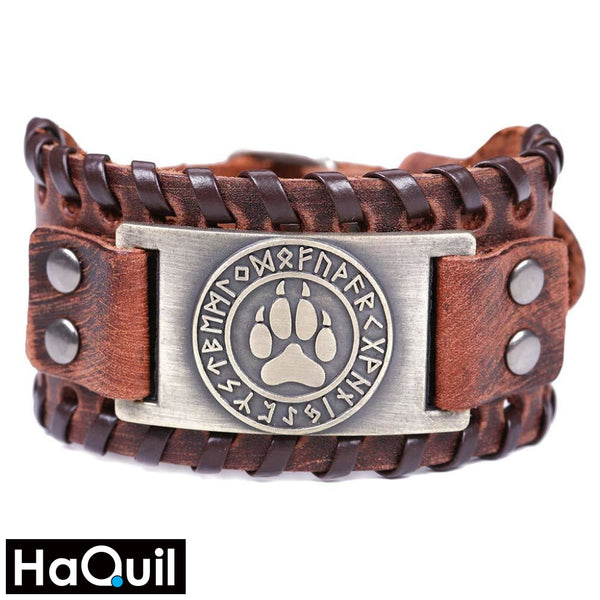 Haquil Viking Bear Paw Nordic Runes Bracelet Alloy / Mens Metal Jewelry