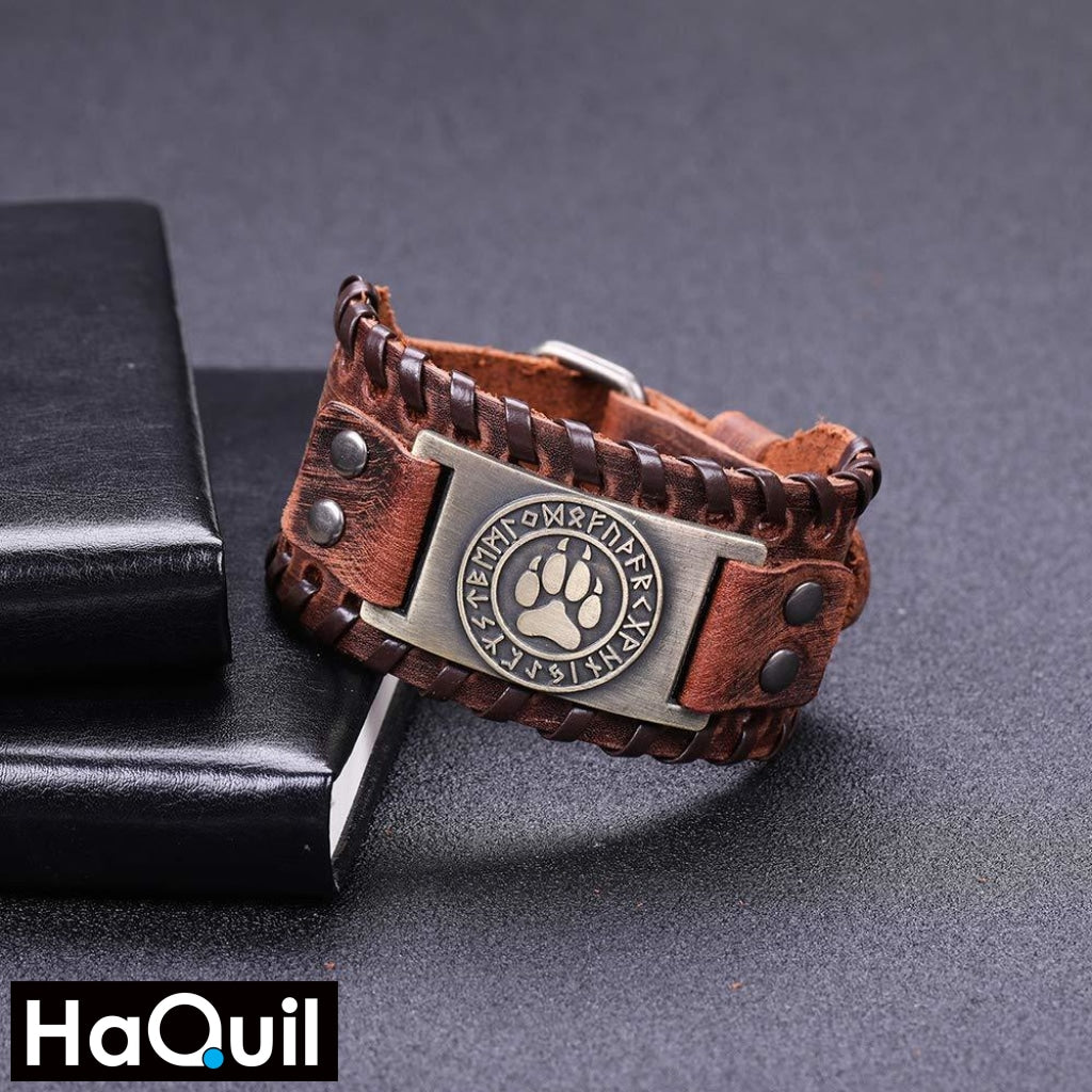 Haquil Viking Bear Paw Nordic Runes Bracelet Jewelry