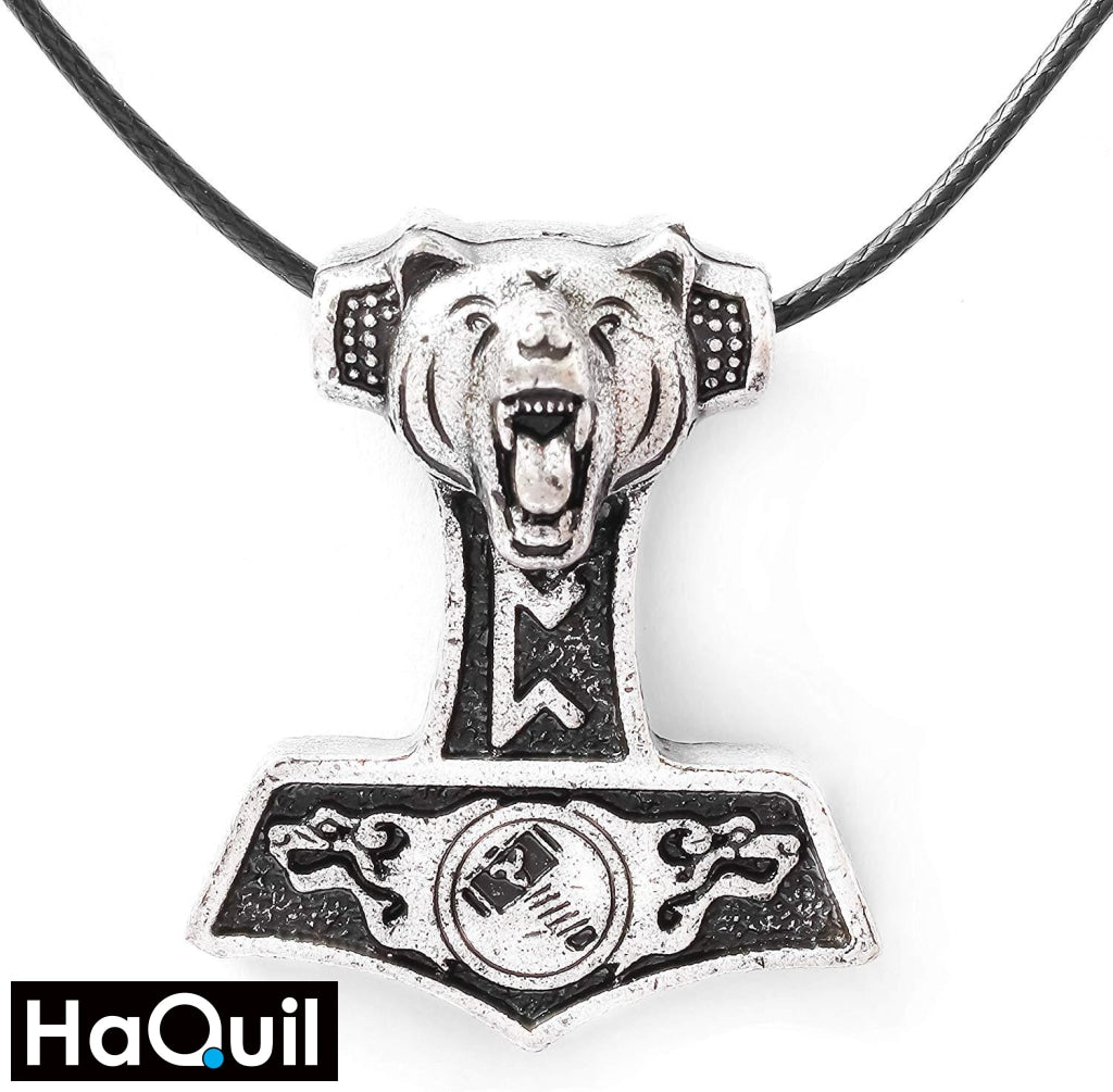 Haquil Viking Bear Thor Hammer Mjolnir Necklace Alloy / Unisex-Child Metal Jewelry