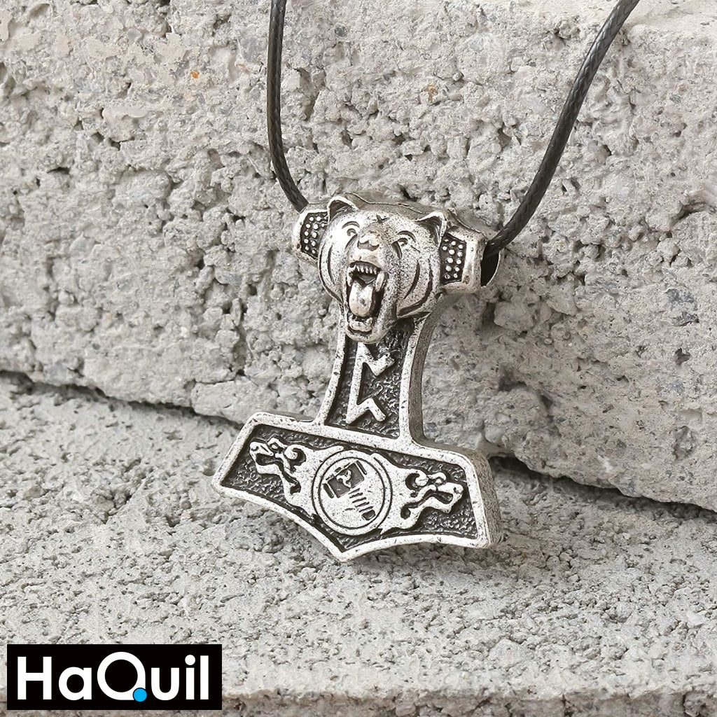 Haquil Viking Bear Thor Hammer Mjolnir Necklace Jewelry