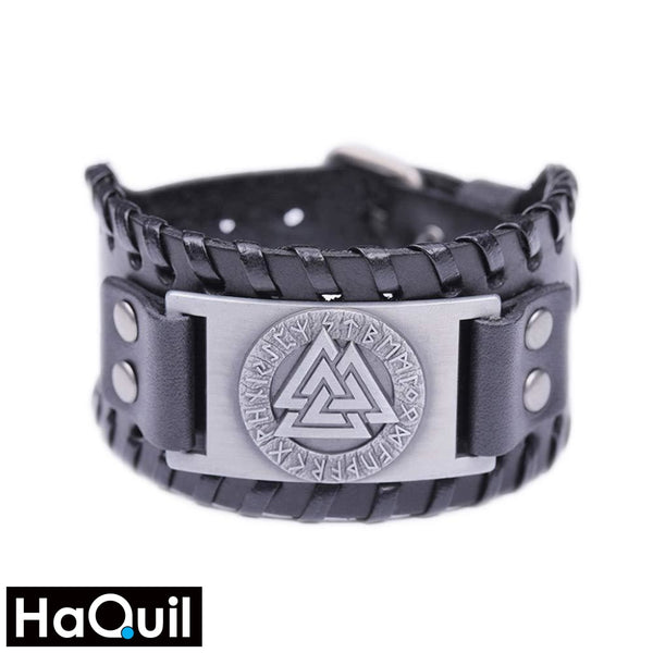 Haquil Viking Black Leather Valknut Amulet Bracelet Alloy / Womens Metal Jewelry
