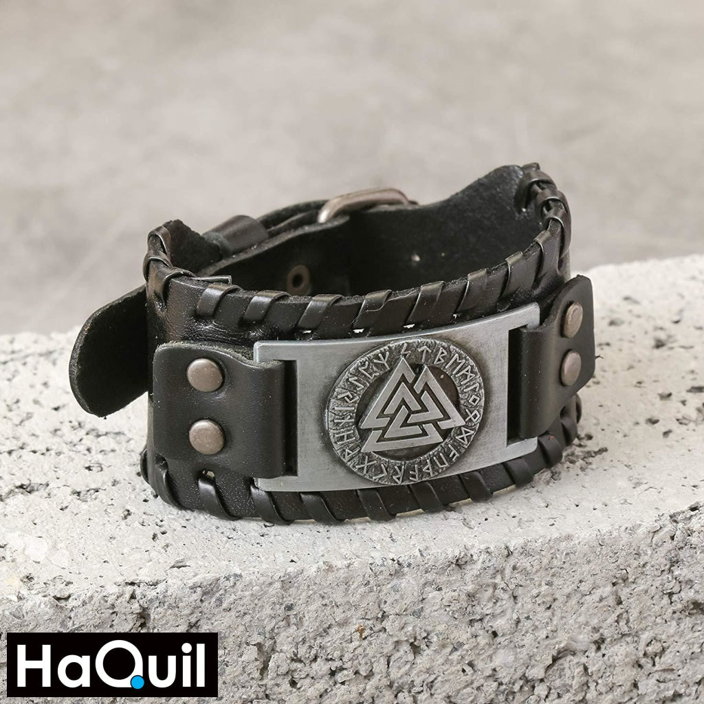 Haquil Viking Black Leather Valknut Amulet Bracelet Jewelry