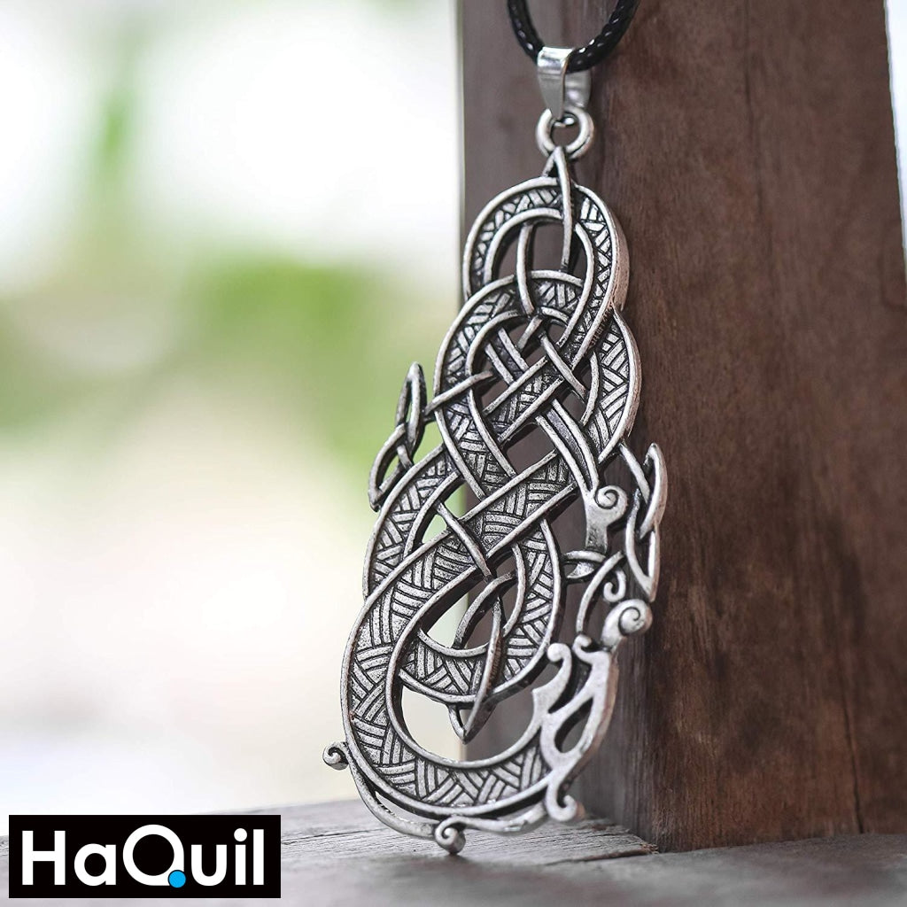 Haquil Viking Celtic Dragon Eat Its Tail Necklace Jewelry