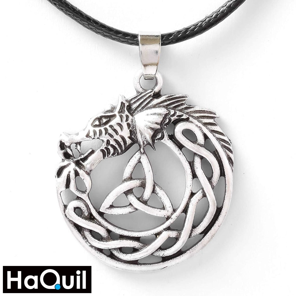 Haquil Viking Celtic Dragon Trinity Necklace Alloy / Womens Metal Jewelry