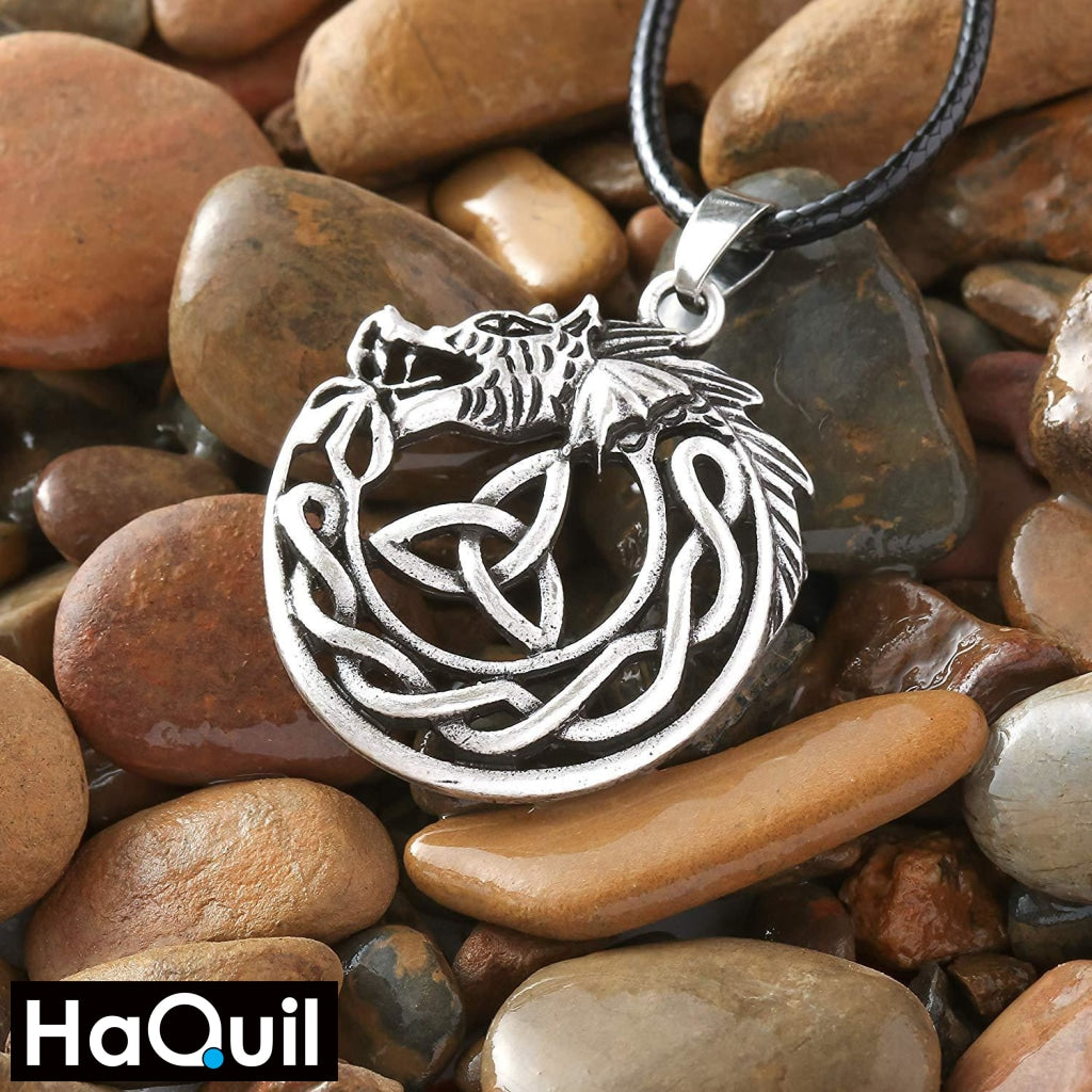 Haquil Viking Celtic Dragon Trinity Necklace Jewelry
