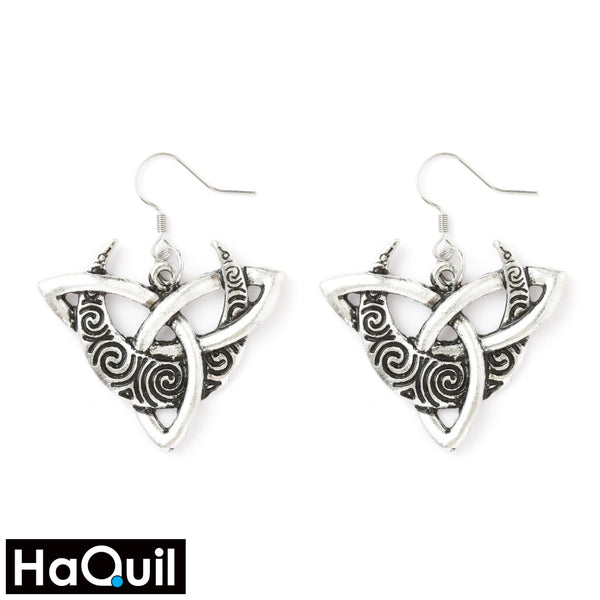 Haquil Viking Celtic Moon Trinity Knot Earrings Alloy / Boys Metal Jewelry