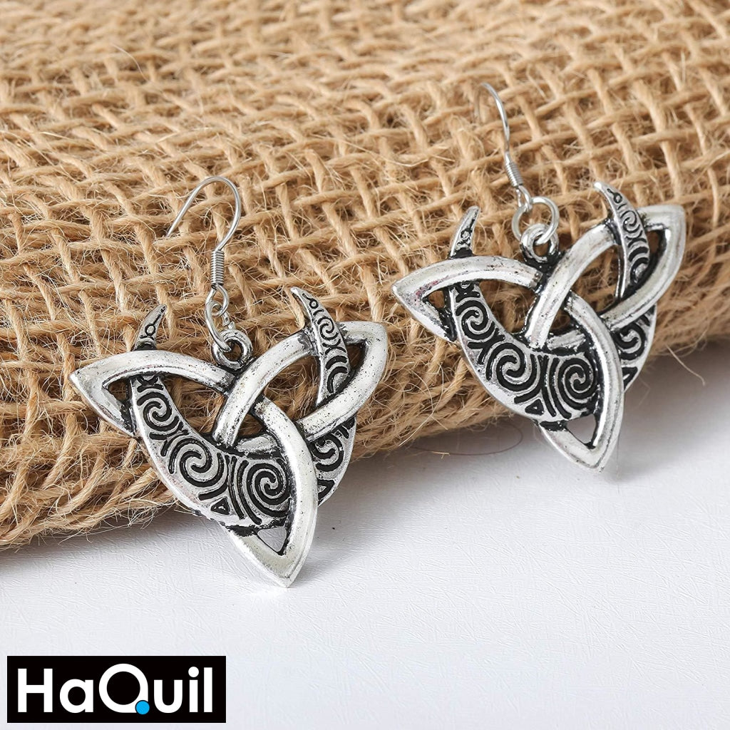Haquil Viking Celtic Moon Trinity Knot Earrings Jewelry
