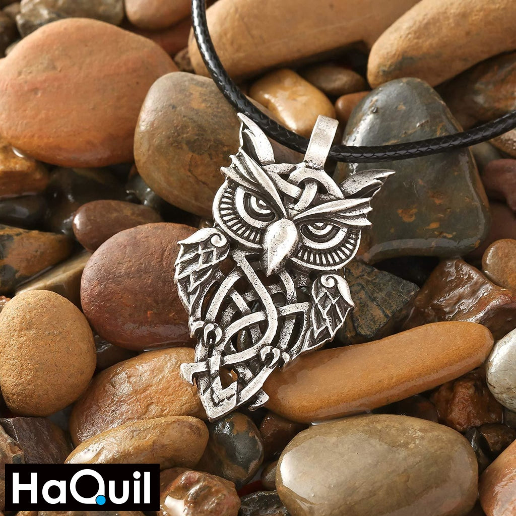 Haquil Viking Celtic Owl Necklace Jewelry