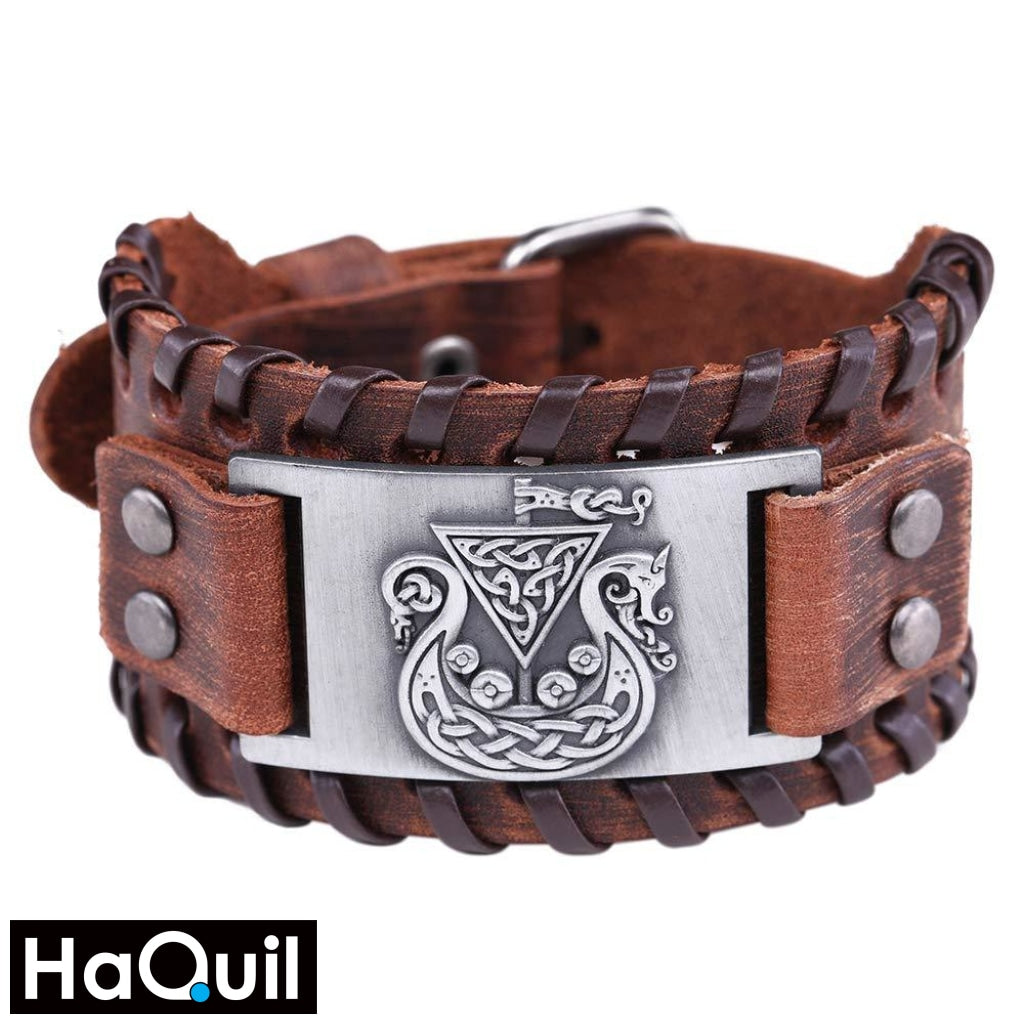 Haquil Viking Celtic Symbol Dragon Knotwork Bracelet Alloy / Boys Metal Jewelry