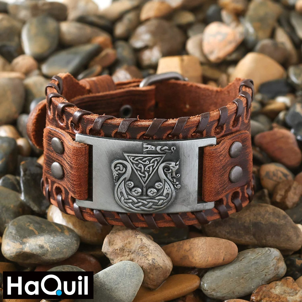 Haquil Viking Celtic Symbol Dragon Knotwork Bracelet Jewelry