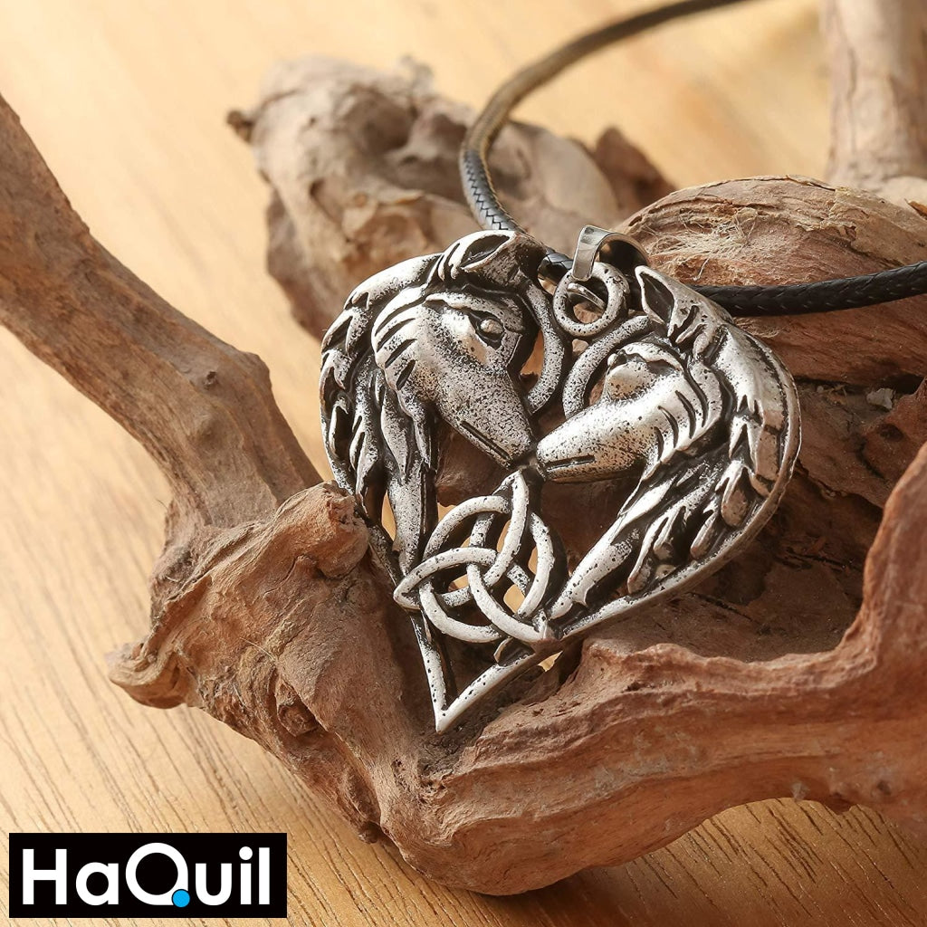 Haquil Viking Celtics Wolf Heart Couples Necklaces Jewelry