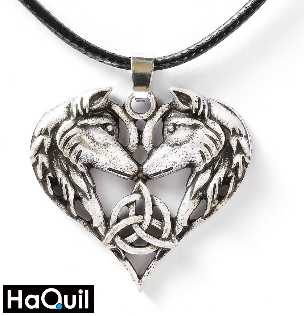 Haquil Viking Celtics Wolf Heart Couples Necklaces New Jewelry