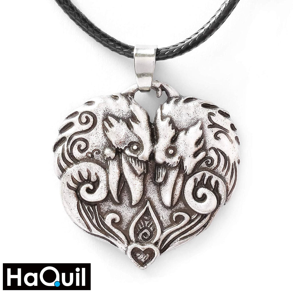Haquil Viking Couple Raven Heart Pendant Necklace Alloy / Womens Metal Jewelry