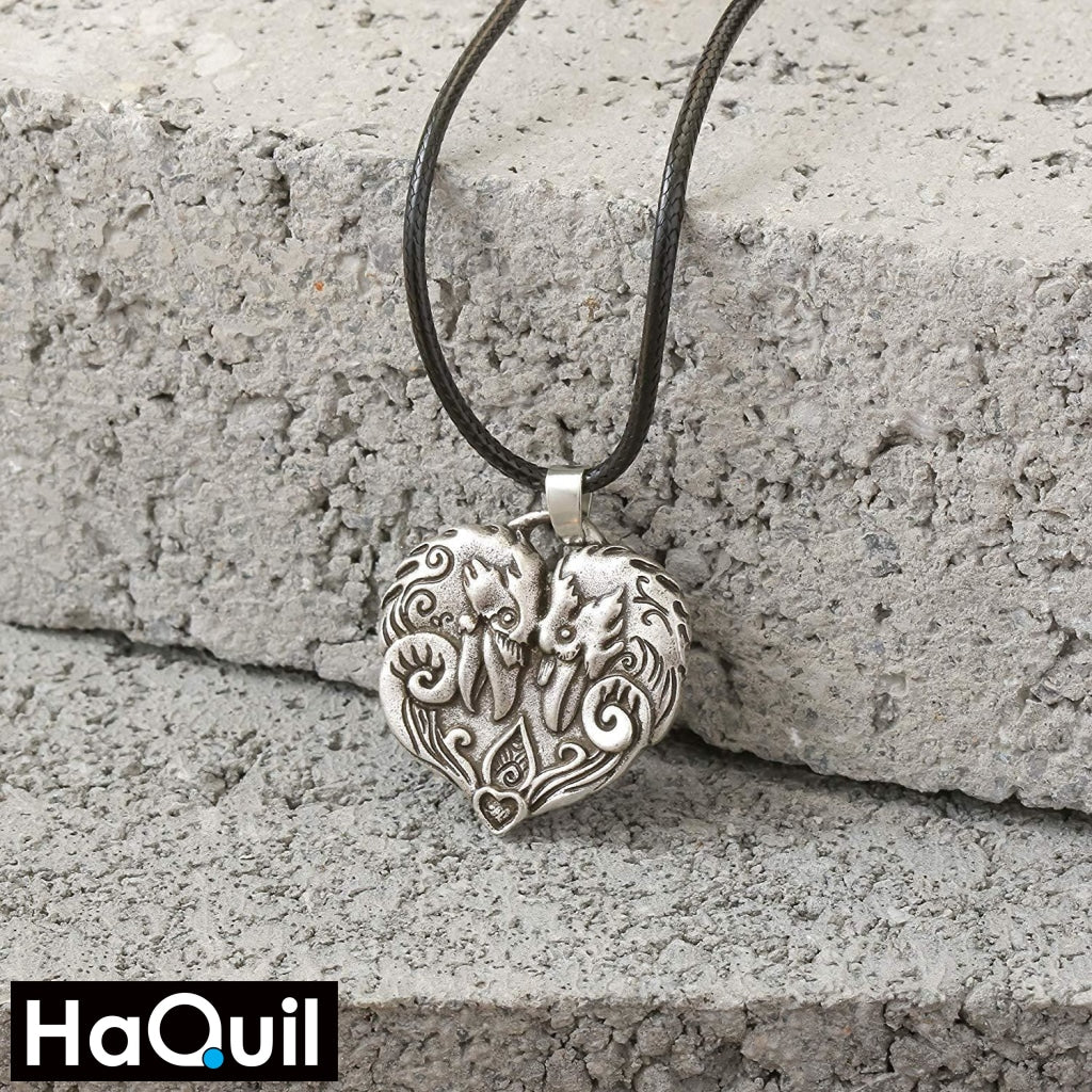 Haquil Viking Couple Raven Heart Pendant Necklace Jewelry