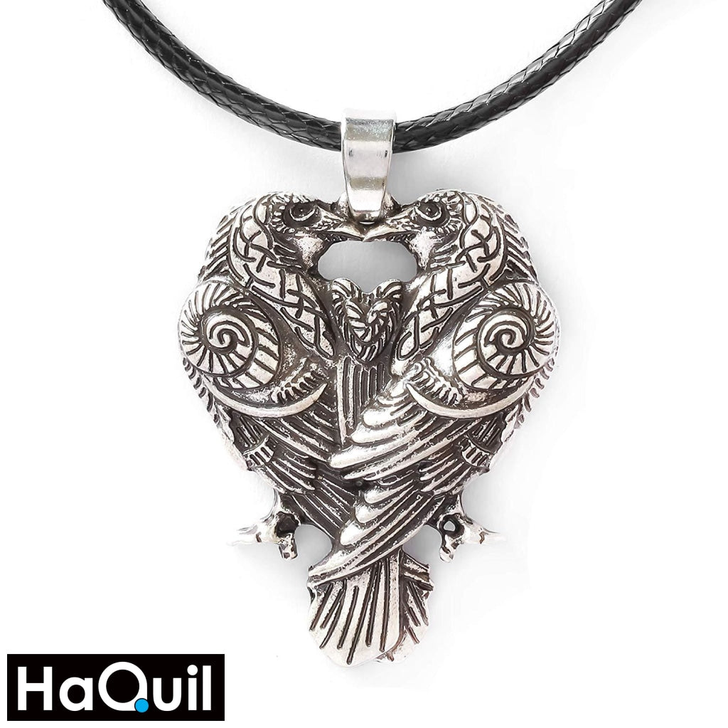 Haquil Viking Couple Raven Huginn And Muninn Necklace Alloy / Womens Metal Jewelry
