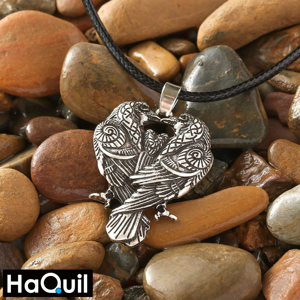 Haquil Viking Couple Raven Huginn And Muninn Necklace Jewelry