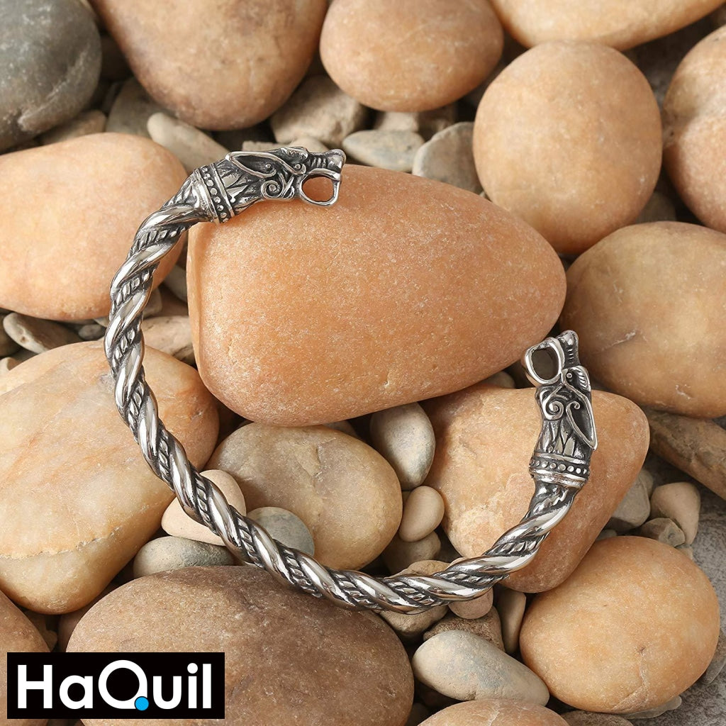 Haquil Viking Dragon Head Twisted Bracelet Jewelry