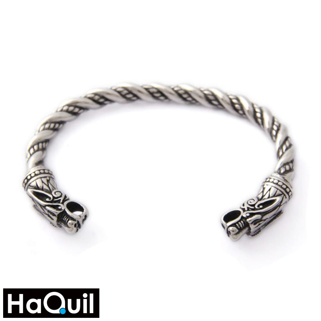 Haquil Viking Dragon Head Twisted Bracelet Stainless-Steel / Womens Metal Jewelry