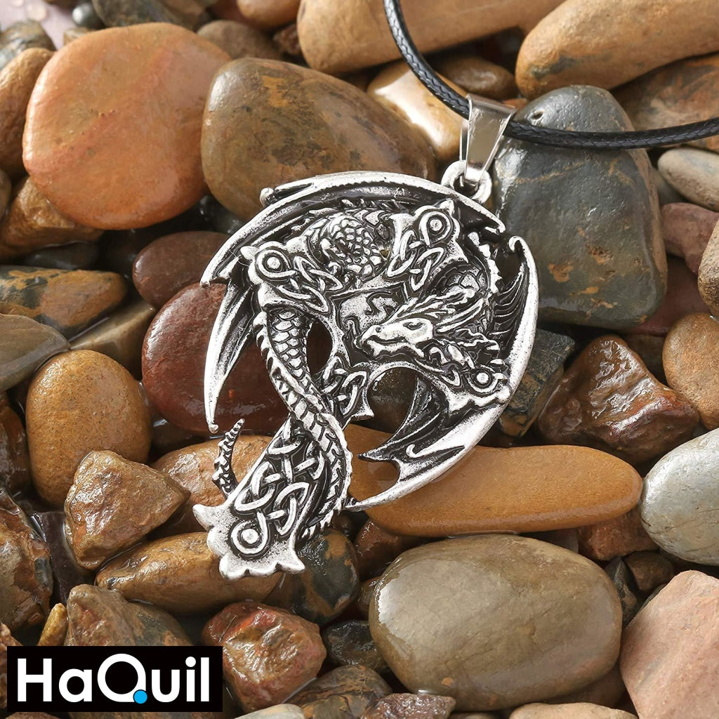 Haquil Viking Dragon Holy Cross Necklace Jewelry