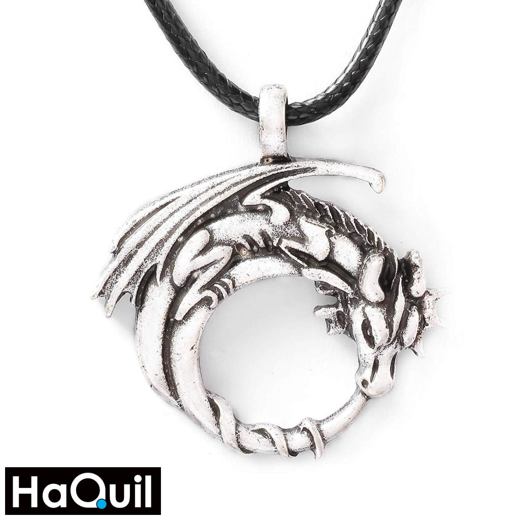 Haquil Viking Dragon On Moon Necklace Alloy / Womens Metal Jewelry