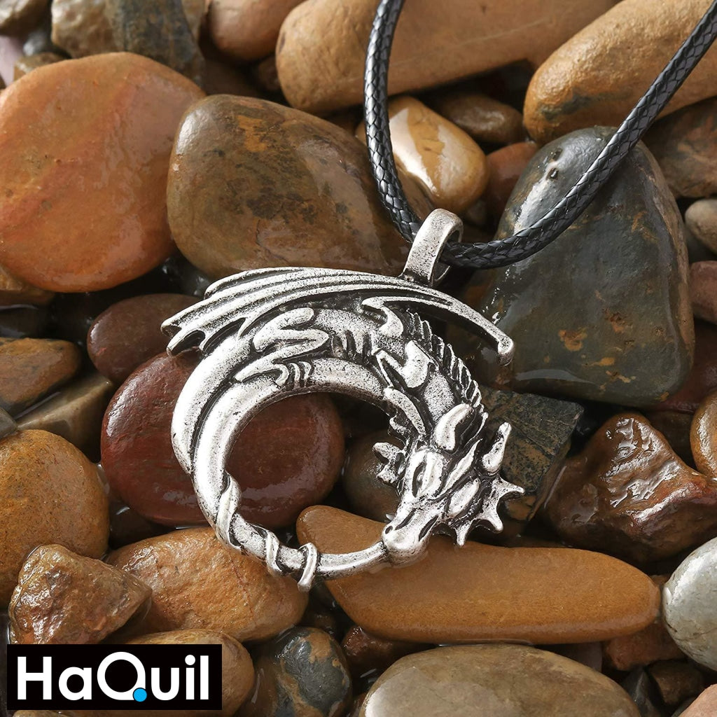 Haquil Viking Dragon On Moon Necklace Jewelry