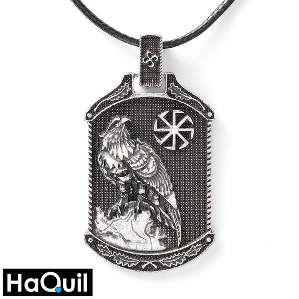 Haquil Viking Eagle With Slavic Symbol Necklace Alloy / Mens Metal Jewelry
