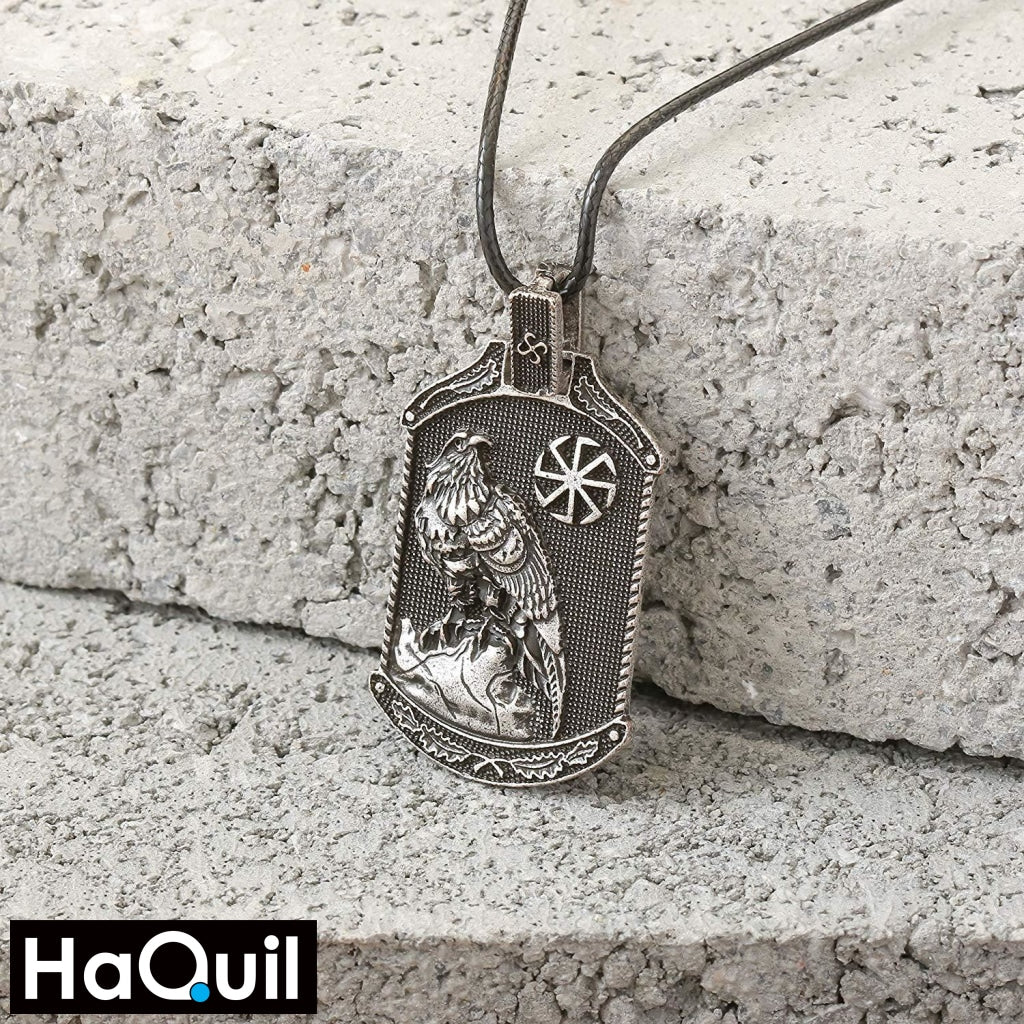 Haquil Viking Eagle With Slavic Symbol Necklace Jewelry