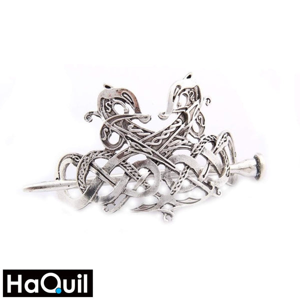 Haquil Viking Feminine Couple Dragon Hairpin Medium / Plated Silver Apparel