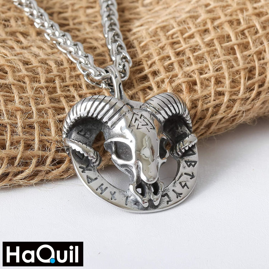 Haquil Viking Goat Heidrun Runes Circle Necklace Jewelry