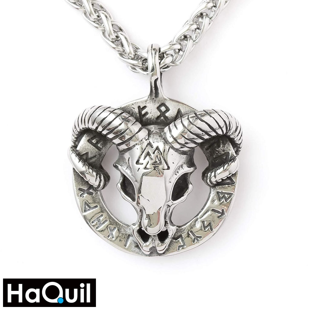 Haquil Viking Goat Heidrun Runes Circle Necklace Stainless-Steel / Womens Metal Jewelry