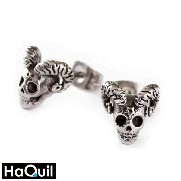 Haquil Viking Goat Skull Earrings Stainless-Steel / Womens Metal Jewelry