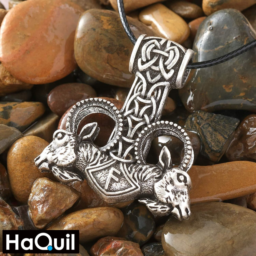 Haquil Viking Goat Thor Hammer Mjolnir Necklace Jewelry