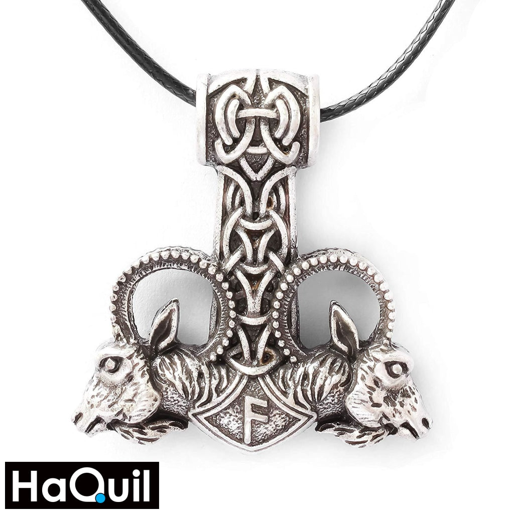 Haquil Viking Goat Thor Hammer Mjolnir Necklace Stainless-Steel / Mens Metal Jewelry