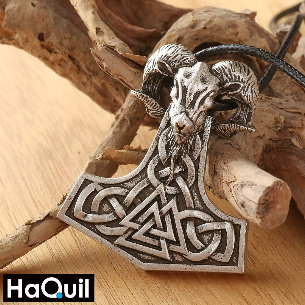 Haquil Viking Goat Thor Hammer Necklace Jewelry