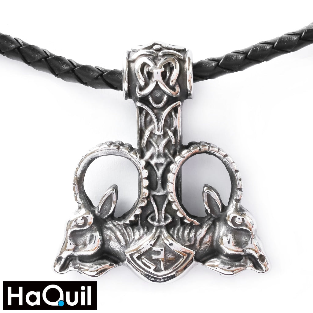 Haquil Viking Goat Thor Hammer Necklace Stainless-Steel / Womens Metal Jewelry