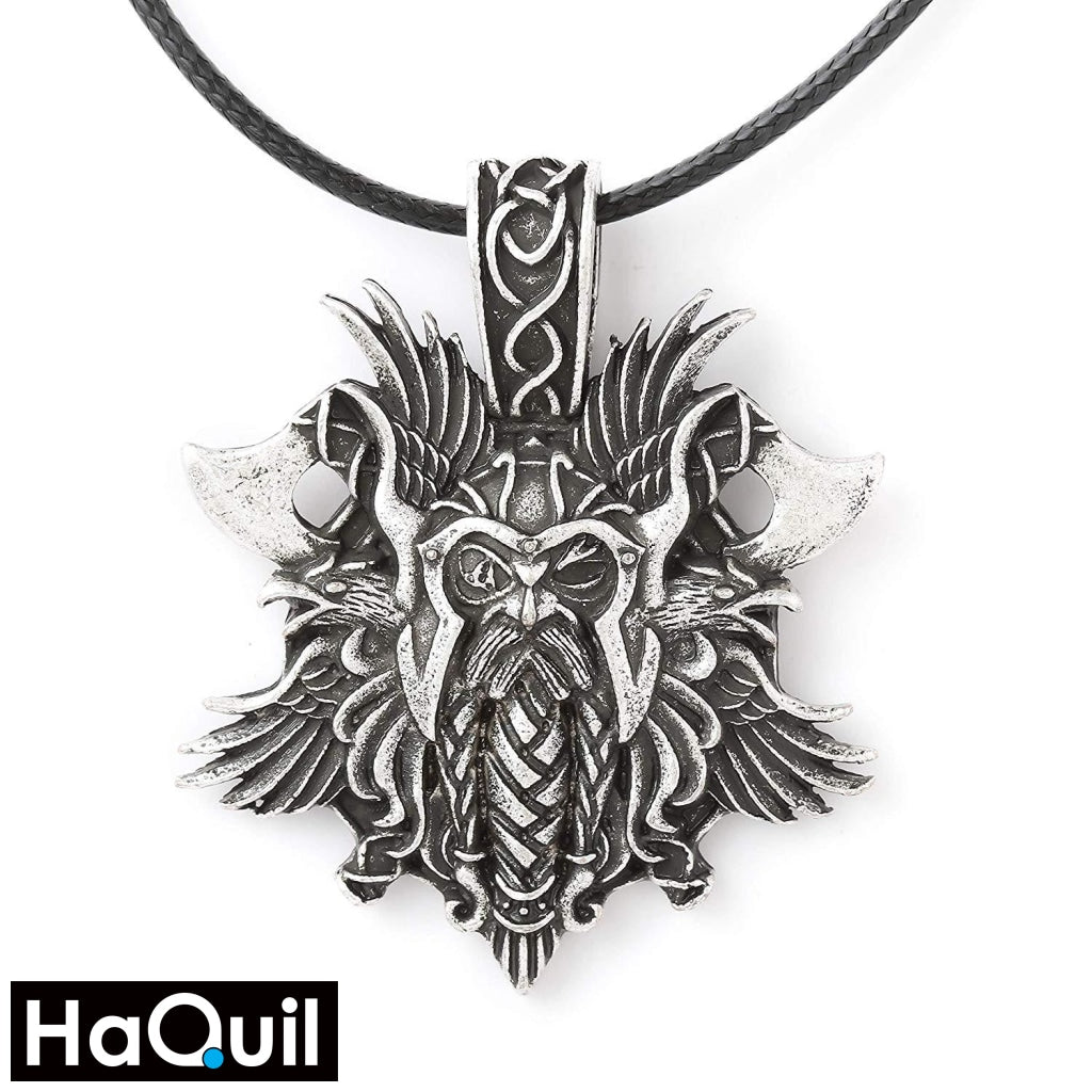 Haquil Viking Heathen Odin Raven Axe Necklace Alloy / Womens Metal Jewelry