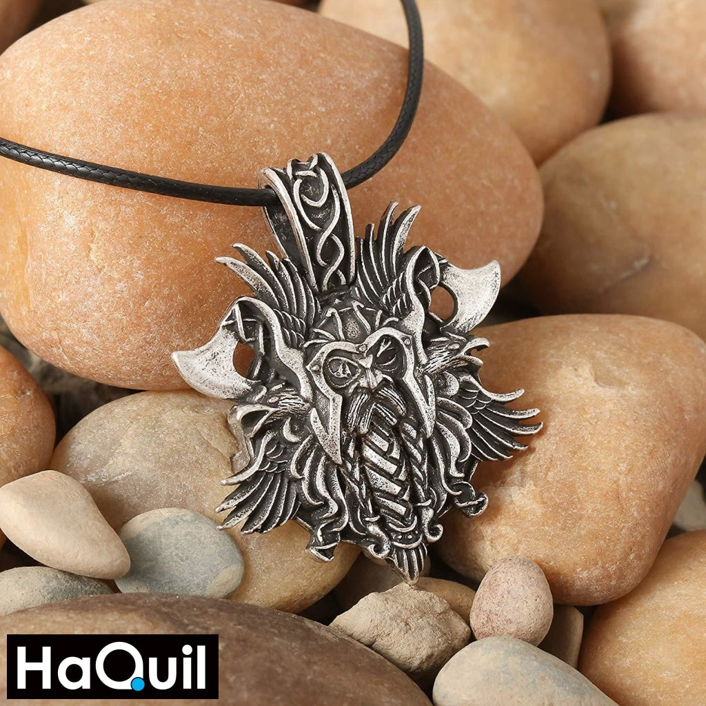 Haquil Viking Heathen Odin Raven Axe Necklace Jewelry