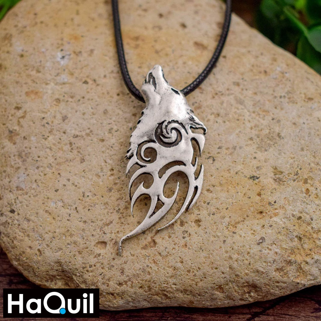 Haquil Viking Howling Wolf Necklace Jewelry