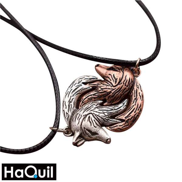 Haquil Viking Interlocking Wolf Couple Necklace Alloy / Womens Metal Jewelry