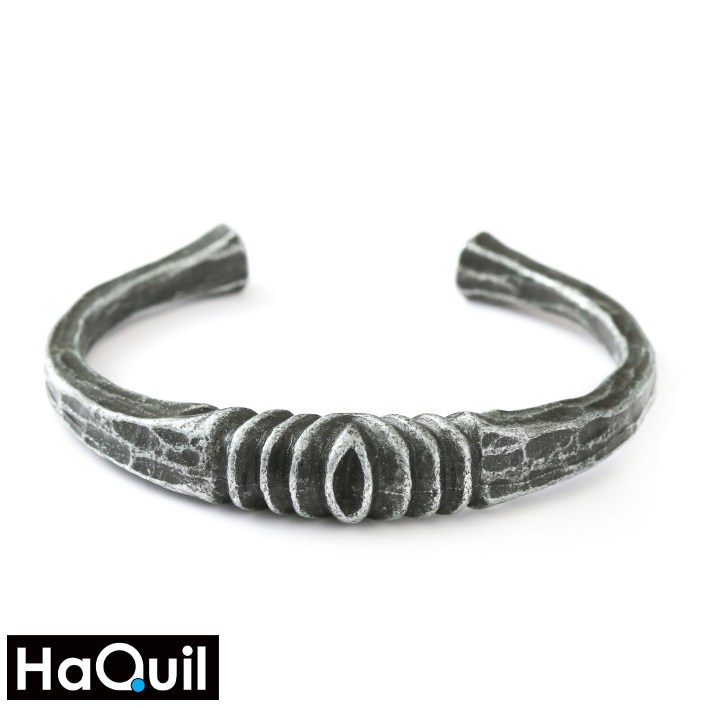 Haquil Viking Iron Deep Gray Celtic Bangle Bracelet Apparel