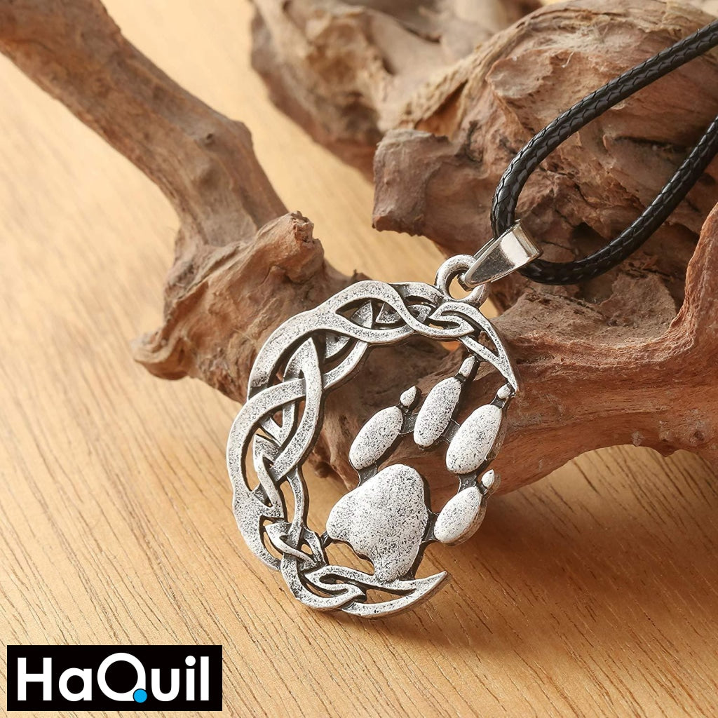 Haquil Viking Knotted Bear Paw Pendant Necklace Jewelry