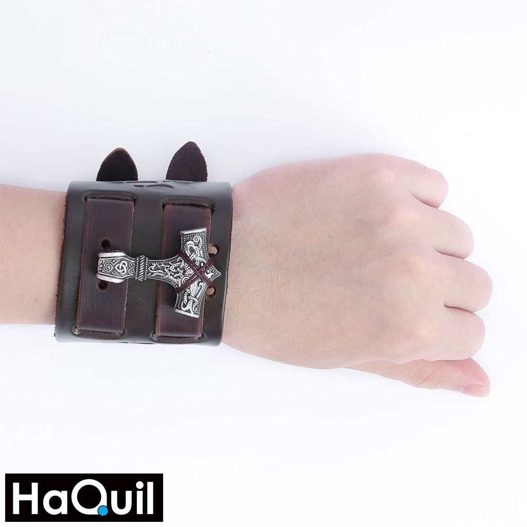 Haquil Viking Leather Thor Hammer Mjolnir Bracelet Jewelry