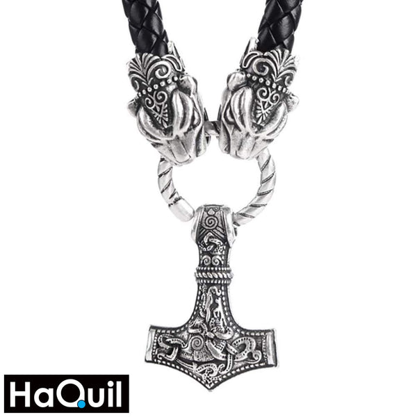 Haquil Viking Leopard With Thor Hammer Necklace Alloy / Mens Metal Jewelry