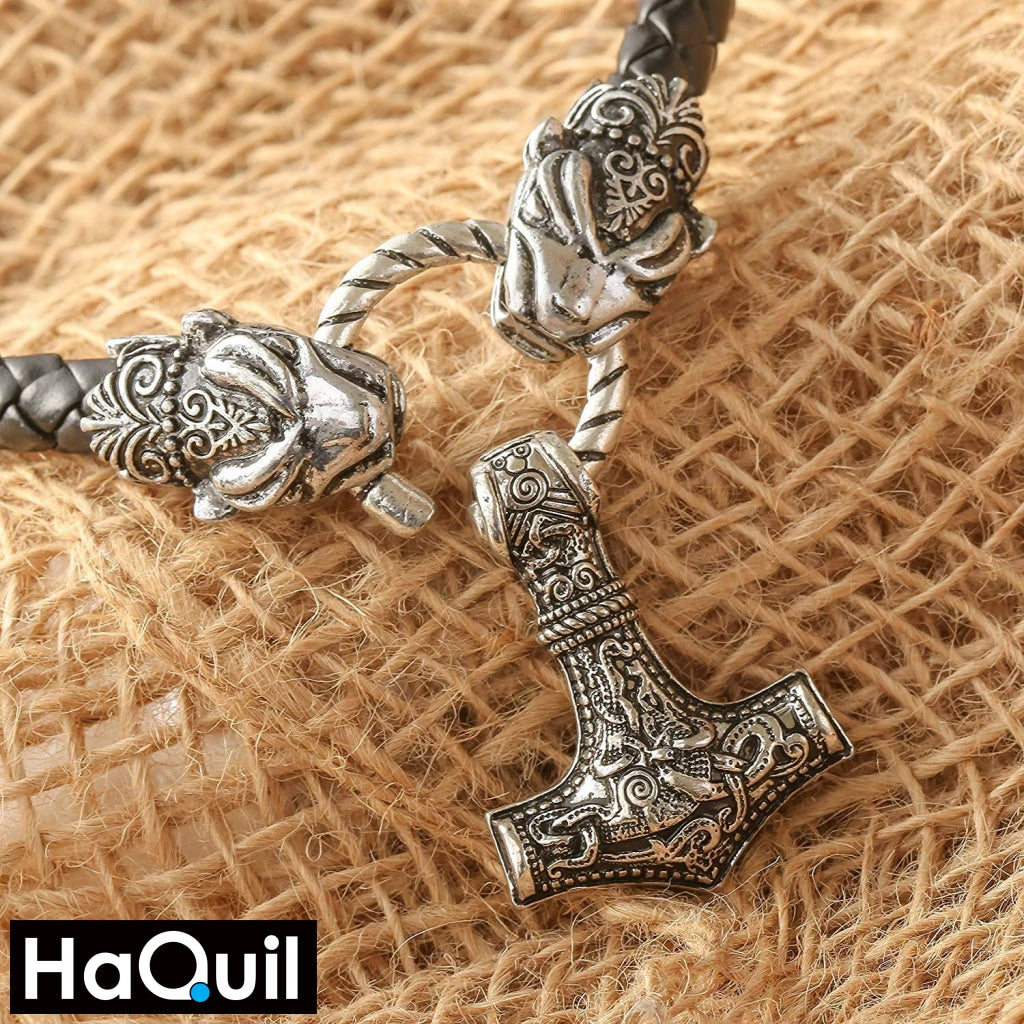 Haquil Viking Leopard With Thor Hammer Necklace Jewelry