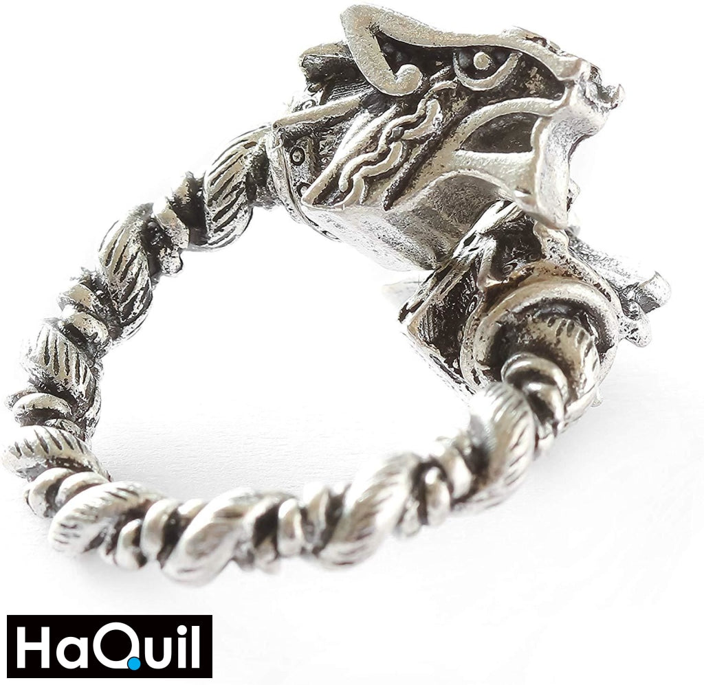Haquil Viking Magnetic Two Heads Wolf Ring Jewelry
